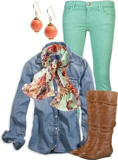 colored pants, fashion, style, denim shirts, double denim, fall outfits, mint, brown boots, colored jeans