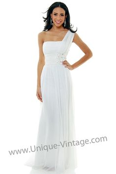 White Chiffon One Shoulder Long Empire Waist - XS to 3XL Sale - $88.00 (9/5)