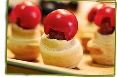 Football Players made from Mini Crescent Dogs with Cherry Tomato 'Helmets' | cuteeverything.com fanci food, birthday parti, crescent dog, football players, fun snackadium, creativ food, crescent recip, footbal food, footbal player