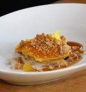 Butternut Squash Custard with Brown Butter and Candy Cap Mushroom Streusel Luis Villavelazquez, of Les Elements Patisserie http://www.cuesa.org/recipe/butternut-squash-custard-brown-butter-and-candy-cap-mushroom-streusel