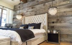 Tobacco Barn Grey Wood Wall Covering ??? Master Bedroom - Want this in my Master Bedroom - one full wall.. love the chandeliers also!