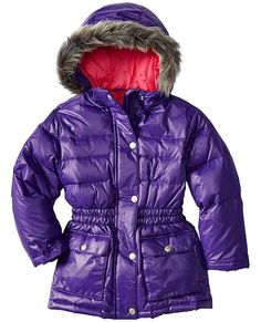Hannah Andersson down puffer jacket for kids in a serious purple