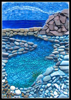 "ROCKPOOL     Applied to a concrete slab with a hanger at the back    This is a mixture of pebbles, slate, iridised stained glass, shell and the water is shattered tempered glass with an acrylic wash behind it.    32 x 20 cm    (1 1/2"" x 8"")"