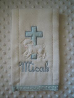 Baptism Burp Cloth by TWINSANDQUINN on Etsy, $10.00