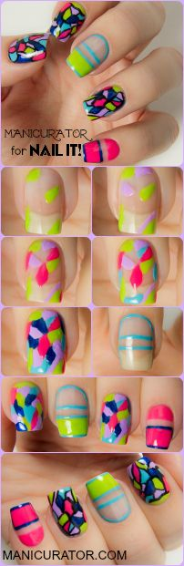 Brights skittle mani - stripes and 'stained glass' effect - in neon yellow, lime green, pink, lilac, blue and aqua with black trim