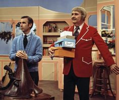 "American children's entertainers Fred Rogers (Mr. Rogers) (1928 - 2003) and Bob Keeshan (Captain Kangaroo) (1927 - 2004) together on an episode of Keeshan's ""Captain Kangaroo,"" crica 1970s."