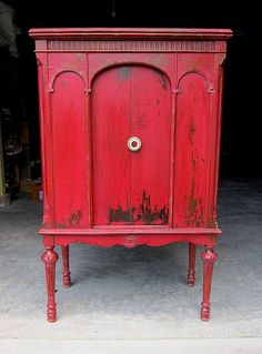 red cabinet painted with MMS Milk paint