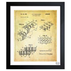 A+nostalgic+touch+for+your+living+room+or+den,+this+handsome+print+showcases+a+patent+drawing+reproduction+and+sleek+black+frame.+  P...