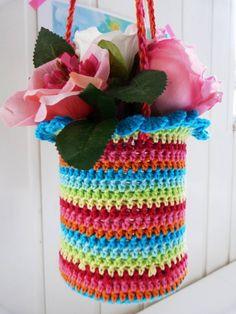 crochet baskets, gift bags, crochet bags, coffee cans, ilona blog, crochet gifts, tin, basket bag, hanging baskets