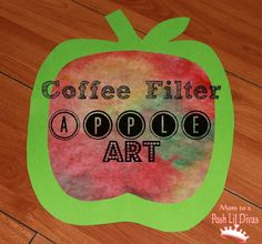 fall kid crafts, appl art, fall crafts, coffee filter art, apple crafts, fall kids, coffee filters, coffe filter, apple art