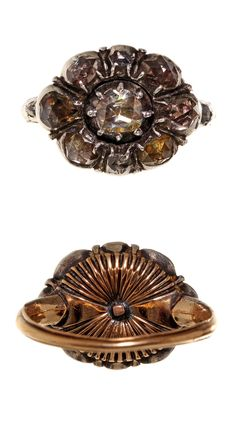 Beautiful early rose cut diamond ring in 18k gold and sterling silver. Circa 1700-1780. Diamonds set in silver, back and shank in gold. Reeded detail on back of setting.