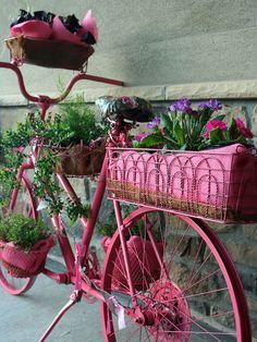pink bike planter