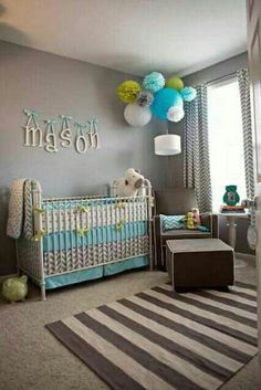 Boys nursery..like the colors, but maybe bits of red rather than green.