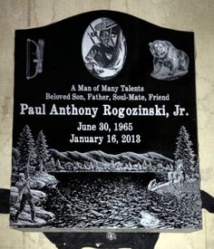 Custom Fishing & Hunting laser etched headstone on india black granite