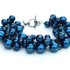 Indigo Pearl Cluster Bracelet