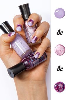 Layer on the purple sparkle and shimmer polish for easy DIY nail art—these Sally Hansen colors are all you need.