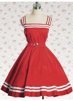 Sailor Style Cotton Red Sash Sleeveless School Lolita Dress With White Ribbon Trim