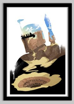 Star Wars Boba Fett Silhouette Poster | From LynxCollection, via Etsy | #starwars #starwarsfanart #bobafett
