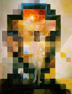 """Dalí - """"Gala contemplando el mar Mediterráneo que a los veinte metros se convierte en el retrato de Abraham Lincoln."""""""
