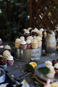love this styled cupcake shoot from always better with butter  (especially love the cake stand idea!)