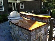 Best Countertop For Outdoor Kitchen Covered patio with flatscreen