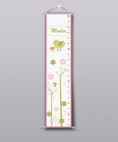 Take a look at this Pink Little Garden Bird Personalized Growth Chart by Grape Tomato on #zulily today!