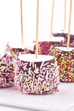 Chocolate Covered Marshmallows Recipe. #marshmallows #chocolate #sprinkles