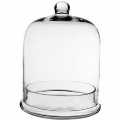 "11"" Glass Cloche Bell With Tray (Set of 2) 8"" base & 8.75 tray opening"