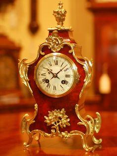 Red Shell Ormolu Mantel Clock by Charles Vincenti circa 1895-1900