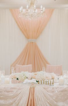 Like the idea of using something other than just white for under the drapping on the head table, and not just plain white fabric.