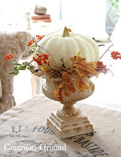 holiday, home tours, french country homes, centerpiec, decorating ideas, leav, fall decorations, white pumpkins, vintage inspired