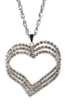 #silver rhinestone #heart #necklace  $7.87