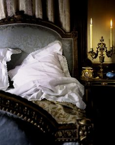 beauti bedroom, headboard, warm colors, candlesticks, beds