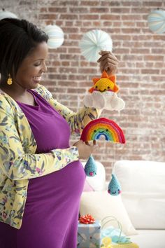 Rainbows and raindrops baby crib mobile crochet pattern