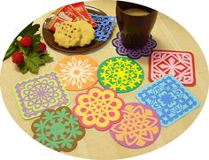 切り紙のコースター, 手作り,作り方、折り紙、切り紙、型紙、図案,Kirigami