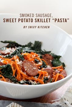 """Smoked Sausage, Sweet Potato Skillet """"Pasta"""" - A beautiful 15 minute sensation from our friend at @Steph Nixon Kitchen!"""