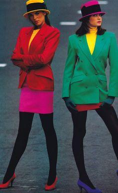 Marc Hispard for Elle magazine, September 1987. Clothing by Kenzo.