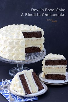 Devil's Food Cake with a center of Ricotta Cheesecake with Vanilla Bean Buttercream frosting. from #dietersdownfall.com