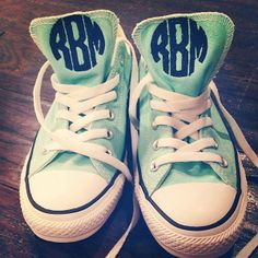 Mint Monogrammed Converse Low Top Chuck Taylor Sneakers