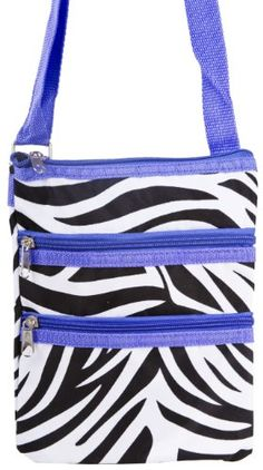 Zebra Print Hipster Crossbody Purse Bag Black and White with Purple Trim - http://handbagscouture.net/brands/private-label/zebra-print-hipster-crossbody-purse-bag-black-and-white-with-purple-trim/