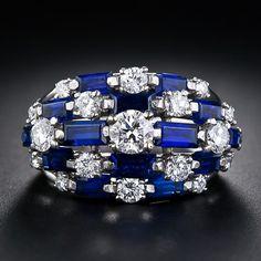 Oscar Heyman sapphire and diamond dome ring.