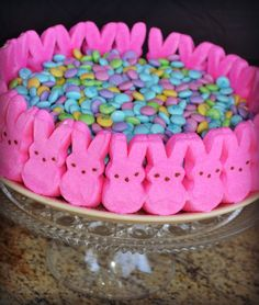 Easter Candy Cake with Peeps! - Mrs Happy Homemaker