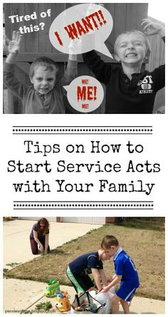 "Tired of the ME mentality and struggling with ""I WANTs""? Have your family help others. Tips on how to start service acts with your family. Ideas on serving with your kids and getting rid of the MEs and I WANTs. Teach Kids to Serve."