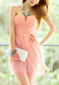 Peach Strapless Dress @LookBookStore