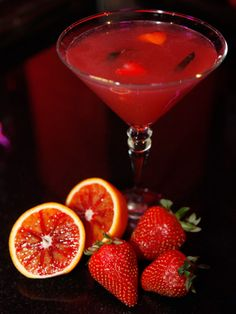 Amore Vietato (Forbidden Love)  - 2 oz. Hendricks gin  - 1 oz. blood orange juice  - Dash simple syrup, 2 strawberries  - 4 slices of cucumber    Muddle fruit with simple syrup, add gin and blood orange juice. Shake and strain into a martini glass. Garnish with strawberry, cucumber spiral and orange peel hearts.