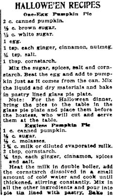 """Halloween recipes published in the Patriot newspaper (Harrisburg, Pennsylvania), 17 October 1919. Read more on the GenealogyBank blog: """"Old Halloween Recipes from Our Ancestors' Kitchens."""" http://blog.genealogybank.com/old-halloween-recipes-from-our-ancestors-kitchens.html"""