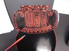 scratch art greek vases prior to making paper mache vases