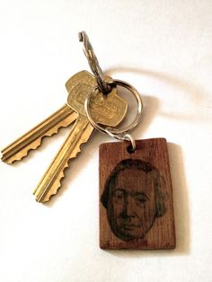 Portrait of David Hume on Wood Keychain by BirchBrooding on Etsy, $39.00
