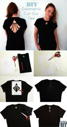 Original DIY: Geometric Cut-out Shirt