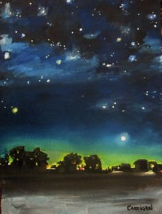 Lights at the Edge of Town Original oil by maureencarrigan on Etsy, $100.00